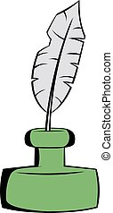 Feather and ink bottle icon