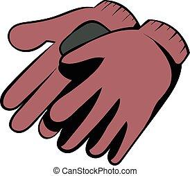 Garden gloves icon cartoon