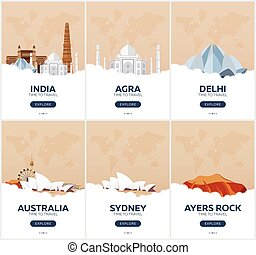 India, Australia. Time to travel. Set of Travel posters....