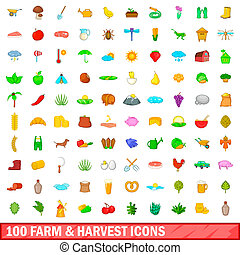 100 farm and harvest icons set, cartoon style - 100 farm and...