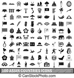 100 asian icons set in simple style