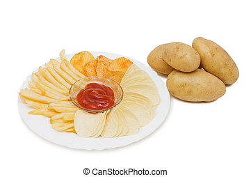 the potato chips with sauce  isolated on white