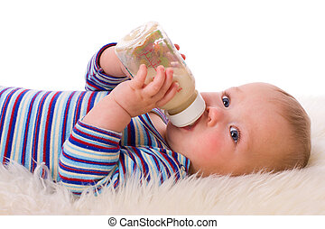 Baby eating - Adorable Seven month Baby eating from bottle