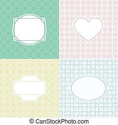 Mono line graphic design template - labels and badges on decorative background with simple seamless pattern. Vector illustration.