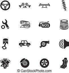 auto tuning icon set - auto tuning web icons for user...