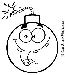 Black And White Crazy Bomb Face Cartoon Mascot Character With Expressions