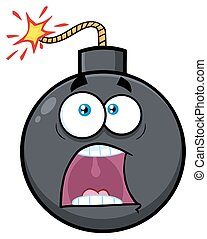 Funny Bomb Face Cartoon Mascot Character With Expressions A Panic