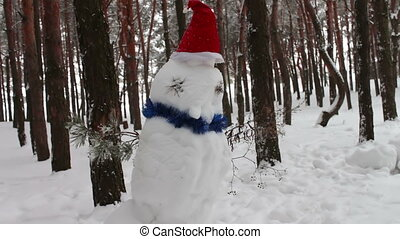 Snowman in hat of Santa Clausin forest
