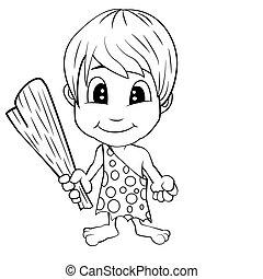 Cartoon Stone Age Cute Cave Boy - Illustration of Isolated...
