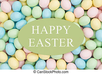 Old fashion Easter greeting, Retro Easter eggs candy with...