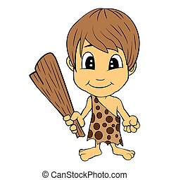 Illustration of Isolated Cartoon Stone Age Cute Cave Boy. Vector EPS 8.