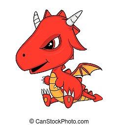 Illustration of Cute Cartoon Baby Dragon