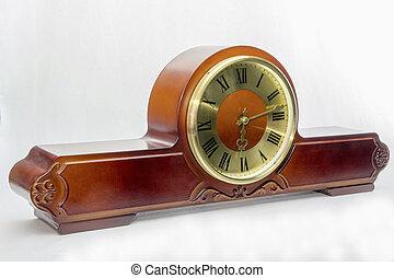 Mantel clock - Wooden antique mantel clock