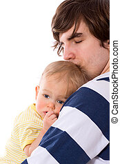 Father holding child - Sad father holding child close up...