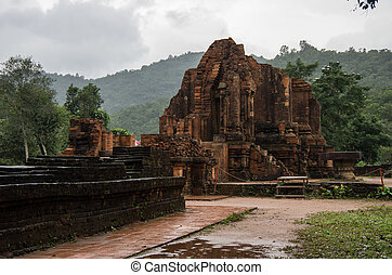 Remains of Hindu tower-temples at My Son Sanctuary, a UNESCO...