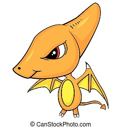 Illustration of Cute Cartoon of Baby Pterodactyl Dinosaur....