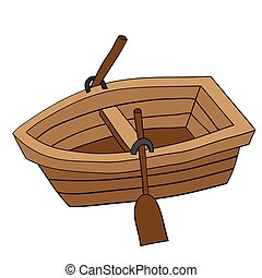 Illustration of Cute Cartoon Doodle of Wooden Row Boat....