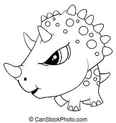 Illustration of Cute Cartoon Blue Baby Triceratops Dinosaur