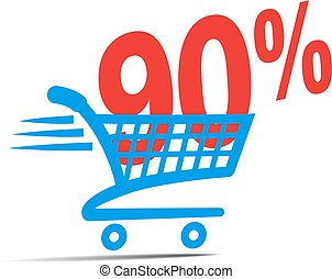 Check Out Cart SALE Icon Symbol with 90 Percent