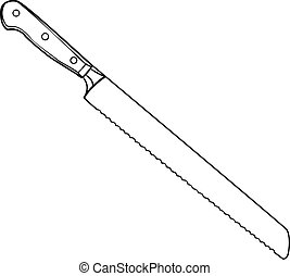 llustration of Isolated Bread Knife Cartoon Drawing. Vector...