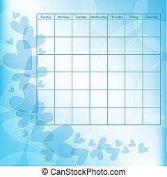 Blue vector heart calendar template
