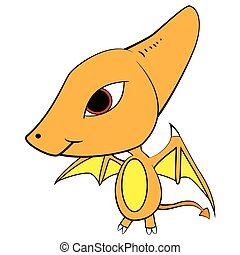 Illustration of Cute Cartoon of Baby Pterodactyl Dinosaur
