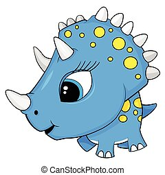 Illustration of Cute Cartoon Blue Baby Triceratops Dinosaur. Vector EPS 8.