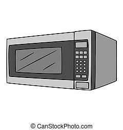 Microwave Oven Cartoon Drawing - Illustration of Isolated...