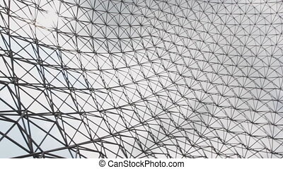 Pan under Geodesic dome. - Panning camera under geodesic...