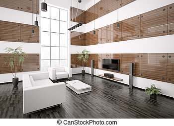 Modern living room interior 3d render - Living room with...