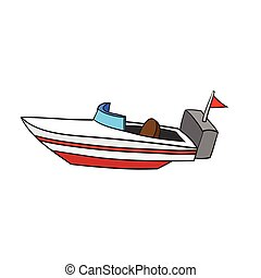 Illustration of Isolated Cartoon Speed Boat. Vector EPS8 -...