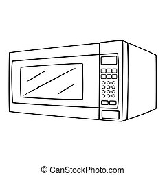 Illustration of Isolated Microwave Oven Cartoon Drawing