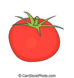 Illustration of Isolated Cartoon Tomato. Vector EPS 8.