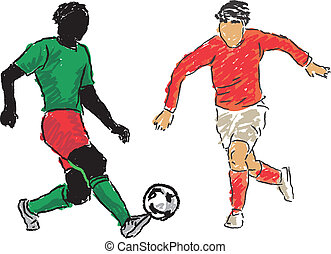 Footballer - Vector footballer drawing freehand made to the...