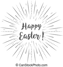 Happy Easter calligraphy with linear rays on a white background