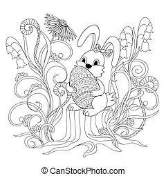 cute cartoon bunny sitting on the stump with ornamental egg...