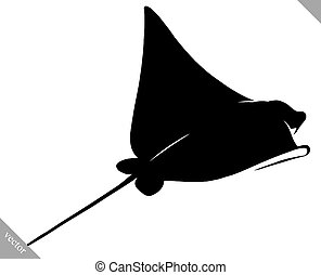 black and white linear paint draw Stingray illustration -...