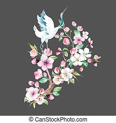 Watercolor crane with flowers vector composition - Beautiful...
