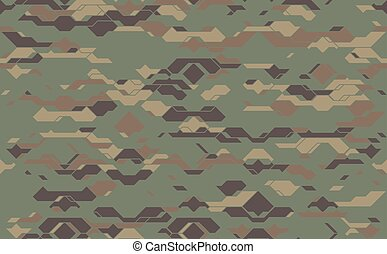 Seamless modern army camouflage fabric texture. Abstract vector futuristic camo damask background. Geometric tech pattern wrapping paper design illustration