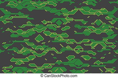 Seamless abstract vector futuristic green techno texture. Yellow neon line on gray background. Geometric tech futuristic pattern design. No transparency. No gradients