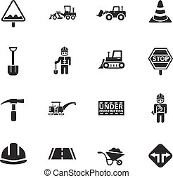 road repairs icon set - road repairs web icons for user...