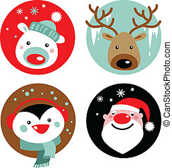 Christmas characters - Santa, reindeer, penguin and polar...