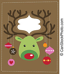 Christmas reindeer card - Cute Christmas reindeer card