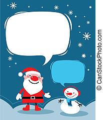Santa and a snowman Christmas card