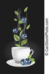 Vector blueberry tea - Vector realistic illustration of a...
