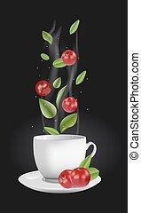 Vector cranberry tea - Vector realistic illustration of a...