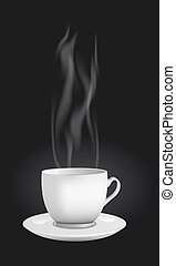 Vector realistic cup with steam - Vector realistic cup made...
