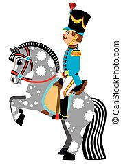 cartoon soldier on a grey horse - cartoon soldier sitting on...
