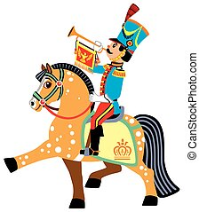 cartoon soldier trumpeter sitting on a horse and blowing a...