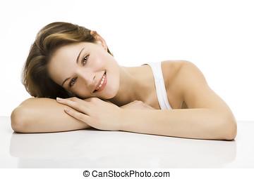 young beautiful women smiles